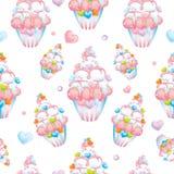与桃红色和白色奶油的巧克力杯形蛋糕 与五颜六色的心脏的蛋糕 导航卡片的例证或海报,在衣裳的印刷品 免版税图库摄影
