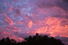 与桃红色和紫色云彩的大天空日出 库存图片