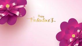 与桃红色和紫色花的愉快的情人节贺卡上升了形状爱 花卉背景概念适用于拷贝空间 皇族释放例证