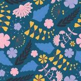与桃红色和紫色花的花卉样式在深蓝背景 图库摄影