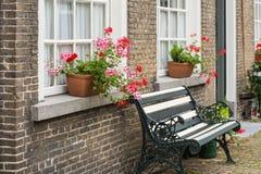 与桃红色和红色开花的天竺葵植物的窗台 免版税库存照片