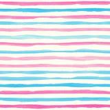 与桃红色和蓝色水平的条纹的水彩无缝的样式 免版税库存照片