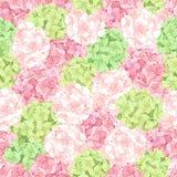 与桃红色和绿色八仙花属的无缝的样式开花 也corel凹道例证向量 免版税库存照片