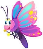 与桃红色和紫色翼的逗人喜爱的蝴蝶 向量例证