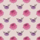 与桃红色和紫色花的无缝的样式 免版税库存图片