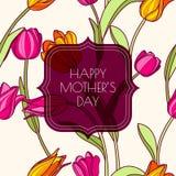 与桃红色和黄色郁金香flowe的愉快的母亲节贺卡 免版税库存图片