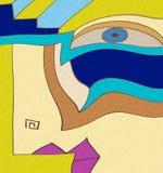 与桃红色嘴和蓝眼睛的传神女性神色 库存例证