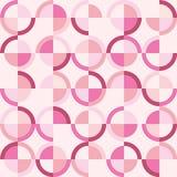与桃红色圈子的无缝的几何样式 库存例证