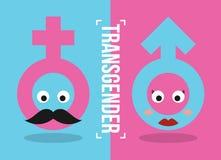 与桃红色女性标志的变性和换性者概念看起来象一个髭人,并且蓝色男性标志看起来象红有嘴妇女 皇族释放例证