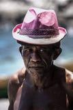 与桃红色帽子,画象的MIKELE 免版税库存图片