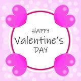 与桃红色心脏的情人节设计 库存例证