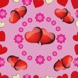 与桃红色心脏的无缝的样式为情人节 库存照片