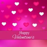 与桃红色心脏的桃红色抽象背景 免版税图库摄影