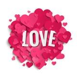 与桃红色心脏的浪漫图象,爱,华伦泰, 免版税库存照片