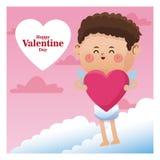 与桃红色心脏的海报浪漫情人节丘比特 库存照片