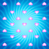 与桃红色心脏的蓝色抽象背景 库存图片