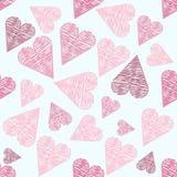 与桃红色心脏的逗人喜爱的无缝的样式,华伦泰的背景 库存例证