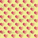与桃红色梯度心脏的无缝的样式在黄色背景 库存图片