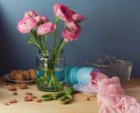 与桃红色毛茛属花花束的静物画 库存照片