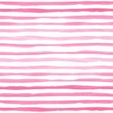 与桃红色水平的条纹的水彩无缝的样式 免版税图库摄影