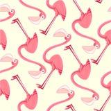 与桃红色火鸟的无缝的样式 库存照片