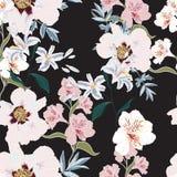 与桃红色牡丹花、德国锥脚形酒杯和百合的花卉无缝的样式 向量例证