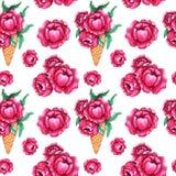 与桃红色牡丹花的水彩无缝的样式 向量例证
