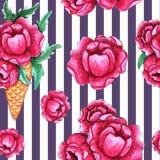 与桃红色牡丹花的水彩无缝的样式 皇族释放例证