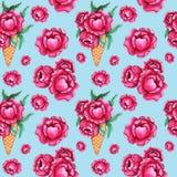 与桃红色牡丹花的水彩无缝的样式 库存例证