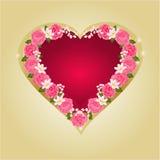 与桃红色玫瑰传染媒介的心脏 免版税图库摄影