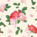 与桃红色玫瑰和叶子的葡萄酒无缝的样式 免版税库存照片