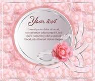 与桃红色玫瑰和明白弓的美好的白皮书边界 免版税库存图片