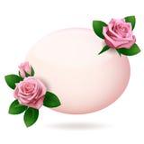与桃红色玫瑰的卵形贺卡模板在白色背景 图库摄影
