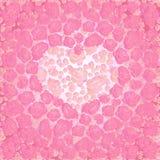 与桃红色玫瑰的心脏 库存照片