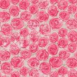 与桃红色玫瑰的无缝的样式在老纸背景 向量例证