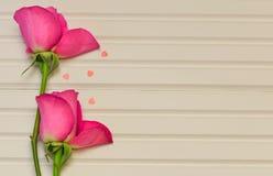 与桃红色玫瑰的浪漫花摄影图象在自然白色木背景的芽与小红色心脏装饰 免版税库存图片