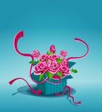 与桃红色玫瑰花束的葡萄酒背景  免版税图库摄影