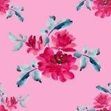与桃红色玫瑰花束的水彩无缝的样式在桃红色背景的 库存图片