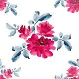 与桃红色玫瑰花束的水彩无缝的样式在白色背景的 库存图片