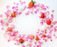与桃红色玫瑰花瓣的一个框架,糖担任主角,草莓, mereng 免版税库存照片