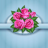 与桃红色玫瑰花的浪漫花卉背景 eps10开花橙色模式缝制的rac ric缝的镶边修整向量墙纸黄色 库存图片