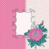 与桃红色玫瑰花的邀请卡片 免版税库存图片