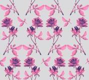与桃红色玫瑰诗歌选的水彩无缝的样式在灰色背景的 免版税库存图片