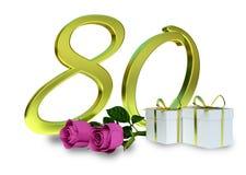与桃红色玫瑰-第80的生日概念 库存照片