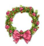 与桃红色球的圣诞节花圈和弓,在白色背景的新年装饰 库存例证