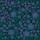 与桃红色的明亮的花卉样式排行了并且greecolored在绿色背景的花 免版税库存图片