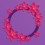 与桃红色纸花的装饰紫罗兰色papercut边界 3D pa 库存图片