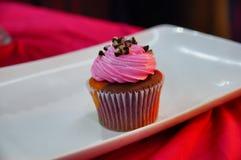 与桃红色结冰的巧克力杯形蛋糕 库存图片