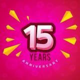 与桃红色背景贺卡的第十五周年 免版税库存照片