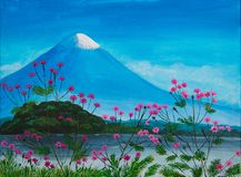 与桃红色花、湖和富士的绘画 免版税库存照片
